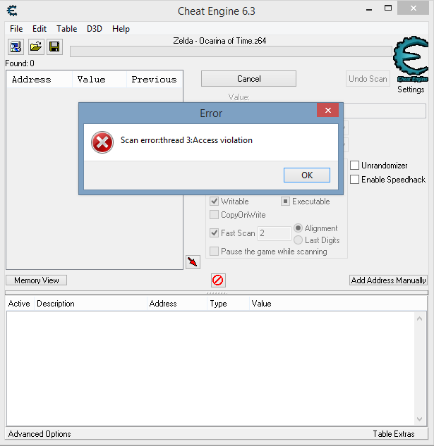 Cheat Engine :: View topic - Error Access Violation