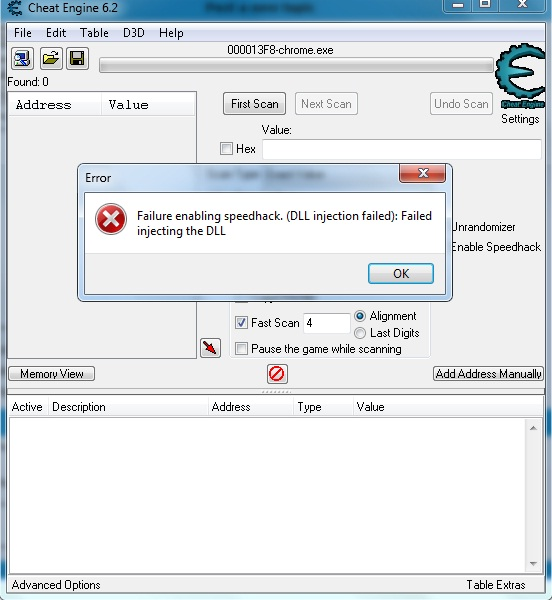 Failure To Enable Speedhack Dll Injection Failed