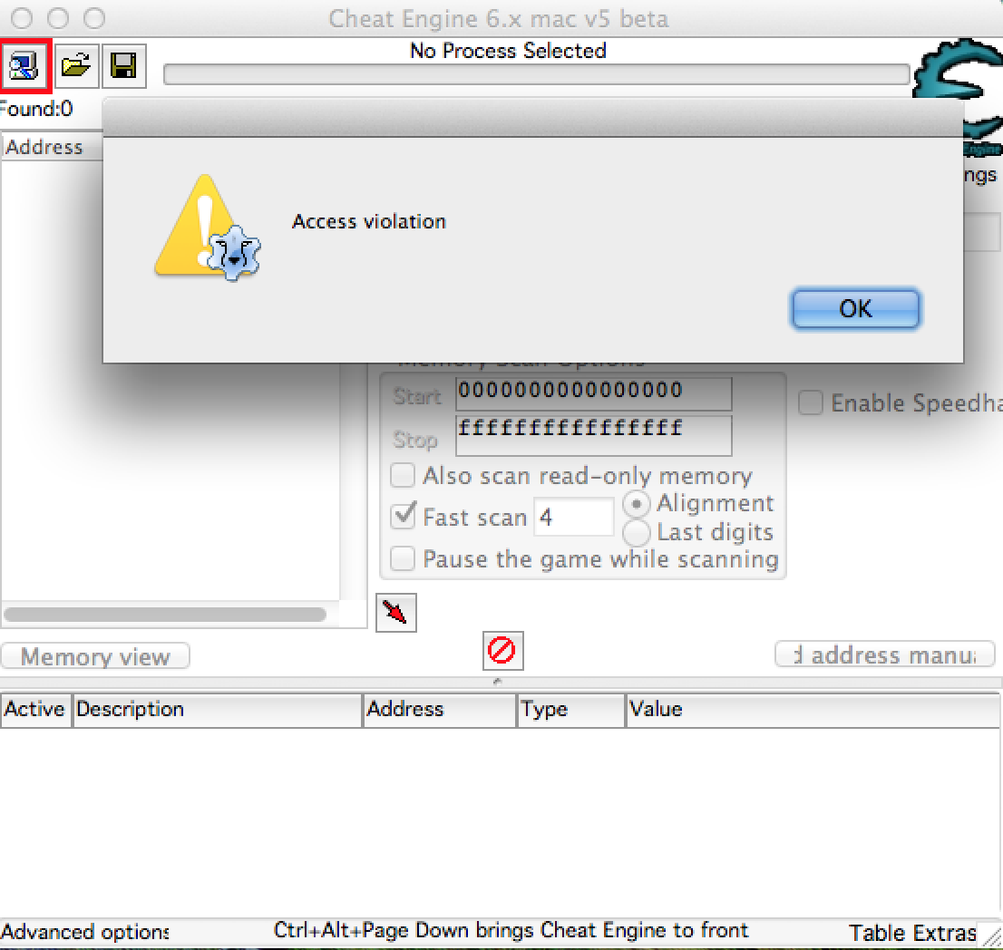 Cheat Engine :: View topic - Access Violation On Mac! Help Me