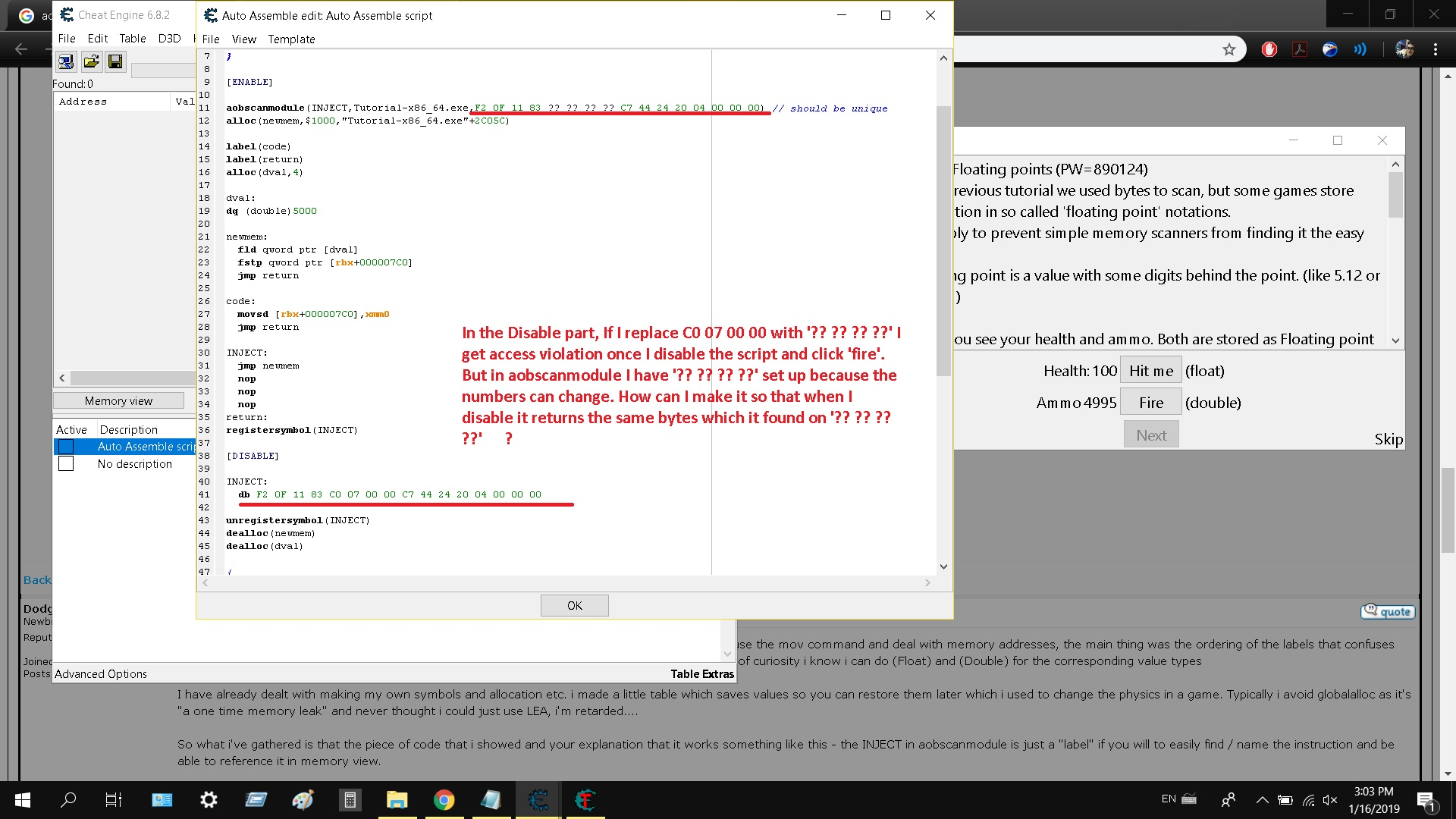 Cheat Engine :: View topic - Access violation when enabling