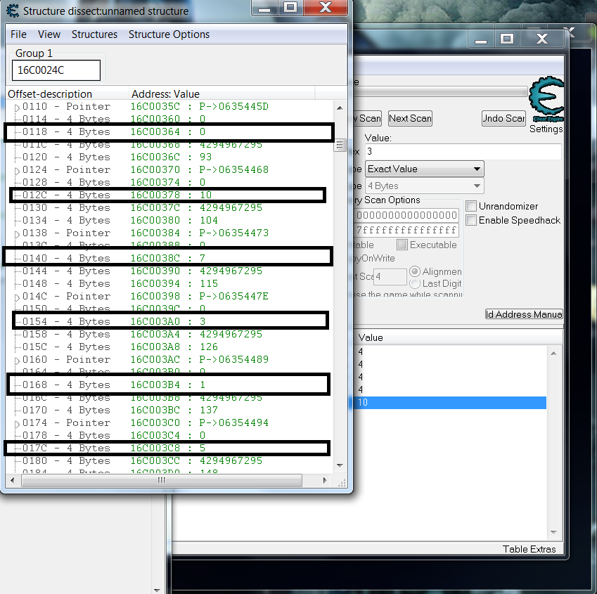 Cheat Engine :: View topic - Is there a way to filter structures?