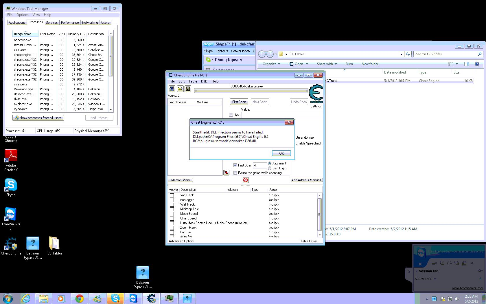 Screenshots of Cheat Engine